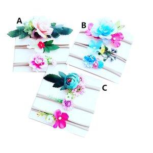 3PCS / SET ins 0-6y FILLES Bohême Bandeaux Nylon Fleurs Artificielles Bandeau Bébé fille Arcs de cheveux Plage Vacances Cheveux accessoires