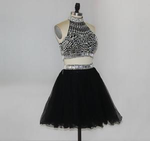 Рэйчел Аллан королевский синий серебряный из двух частей короткие платья возвращения на родину Холтер открытой спиной блестящие Кристалл-line короткие платья выпускного вечера HY00898