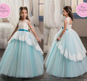 2018 nuevo diseñador Princess Baby Blue Flower Girls Dress Jewel Neck Tiered Puffy Lace Girl vestidos para vestidos de fiesta de boda Vestidos del desfile