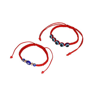 12pcs perline in resina turca Filo rosso con cordino intrecciato Lucky Bracelet Bangle Anklet Jewellery