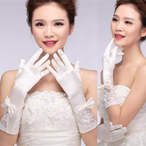 Новые Полный Палец Свадебные Перчатки Длинные Уит Атласные Кружевные Перчатки С Бантом Дизайн Бесплатная Доставка Невесты Аксессуары
