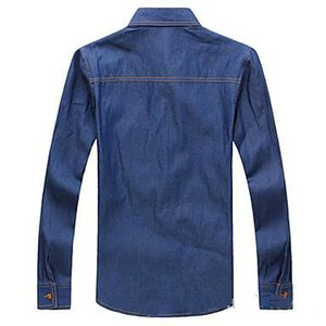 2018 Mens Slim Cotton Denim Shirts Blue and Leisure Shirts with A Poket