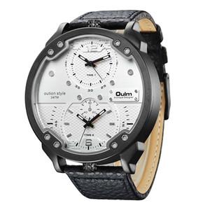Oulm Unique Design Big Watch Male PU Leather Quartz Clock Men's Casual Sports Watches Double Time Zone Men  Wristwatch