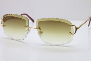 Frete grátis Mulheres ou Homem Óculos Hot Unisex Sun Óculos De Rimless Lente Esculpida T8200762 Homens Sunglasses Ao Ar Livre Condução Óculos