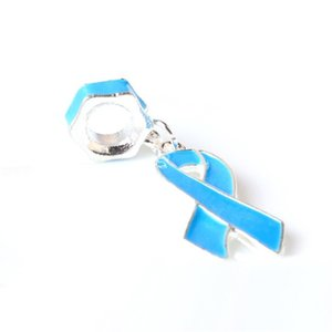 Blue Painted Ribbon Dangle Unique Charm Bead Big Hole Fashion Women Jewelry European Style For Pandora Bracelet Necklace