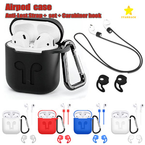 Para Apple Airpods Funda de silicona Funda protectora Funda con anti perdida de la cuerda para Air Pods Bluetooth Auriculares Auriculares Estuche