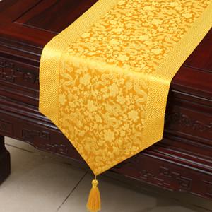 Dragon Pattern Handmade Chinese Satin Satin Table Runner Comedor Mantel Mantel Party Decoration Damasco Mantel Rectángulo 200x33 cm