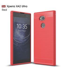Para Sony Xperia XA2 Ultra Case a prueba de golpes Slim Armor fibra de carbono suave TPU Drawing Phone Case para Sony XA2 Cover