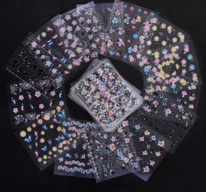 50 pcs / Set 3D Mix Couleur Design Floral Nail Art Autocollants Stickers Manucure Beaux Accessoires De Mode Décoration