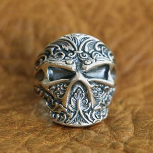 LINSION 925 Sterling Silber hoch Details Ninja Skull Ring Herren Biker Ring TA121 US Größe 7 bis 15