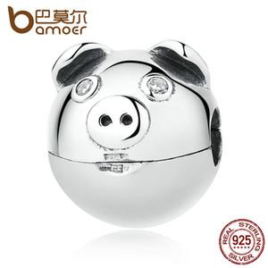 Tüm saleBAMOER 100% ile 925 Ayar Gümüş Güzel Hayvan Domuz Burun Klipler Charms fit Bilezikler Kadınlar Moda Takı SCC106