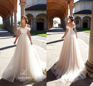 Charming Lussano Beach Bohemian Wedding Dresses Off Shoulder Tulle Lace Up Boho Bridal Gowns Tulle Sweep Train Wedding Dress Custom