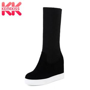 KemeKiss Größe 34-44 Damen Half Short Boots Plateau Innen Heels Runde Zehe Schuhe Frau Winter Frau Schuhe Mode Schuhe