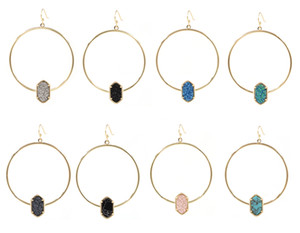 Mode Kendra New Oval Harz Druzy Big Hoop Dangle Ohrring Schmuck für Frauen