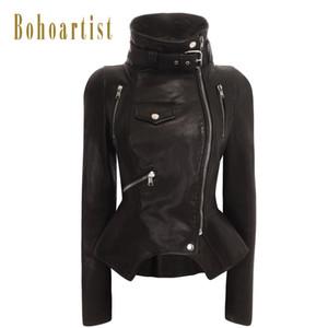 Bohoartist New Fashion Frauen Faux PU Lederjacken Herbst Winter Pu Schwarz Blazer Reißverschlüsse Mantel Motorrad Oberbekleidung 2018 heiß