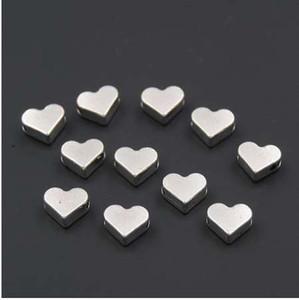 100PCS Silber / Gold Herz europäischen kleinen Loch Spacer Perlen passt Diy handgemachte Charme Armbänder Zubehör