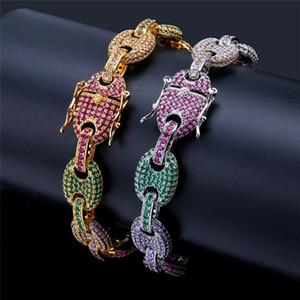 Catene colorate del braccialetto dell'hiphop di Zirconia cubico dell'oro Catena d'argento di collegamento di marca di progettazione dei gioielli di Hip Hop dell'argento dell'oro