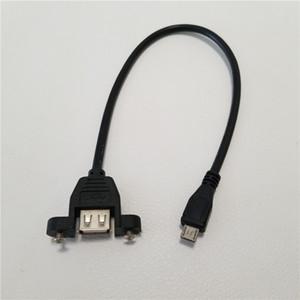 25 cm 5 P Micro B Macho para USB Um Feminino Conversor Adaptador Parafuso de Bloqueio do Painel de Montagem de Dados de Sincronização de Energia Cabo Cabo de Carga