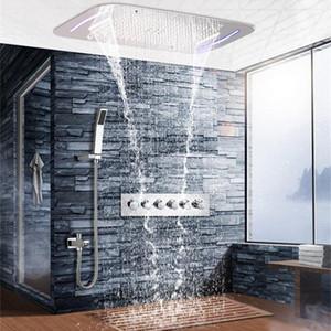 5 Funciones Lluvia empotrada Cascada Niebla Techo Cabezal de ducha Juego de ducha termostática Montado en la pared SPA Masaje Baño Ducha