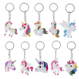 Metall Schlüsselanhänger Niedlichen Silikon Cartoon Unicorn Keychain Frauen Mädchen Umhängetasche Halter Schöne Pferd Charme Tier Spielzeug Keychain