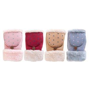 Fashionable Design Women Student Girls Winter Lovely Keep Warm Star Dot Pattern Half Covered Gloves With Velvet 2016 Hot Sale