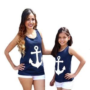 Mère fille fille correspondant vêtements été marin marin Cos ancre mère fille sans manches t-shirt mode bowknot famille correspondant tenues 2 couleurs
