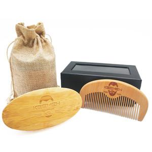 50pcs / lot VOTRE LOGO Customizd Bambou Sanglier Poils Barbe Brosse Bois Barbe Peignes Hommes Toilettage Kit Ensemble avec Sac Boîte Cadeau pour Gentleman