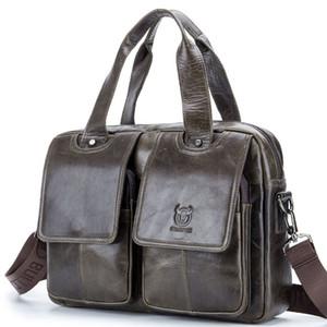 2018 새로운 암소 진짜 가죽 비즈니스 남자의 서류 가방 남성의 어깨 가방 진짜 가죽 메신저 크로스 바디 백 컴퓨터