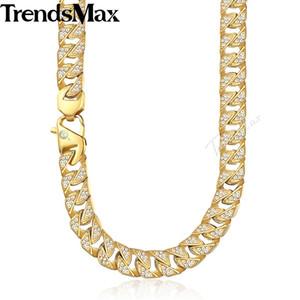 Trendsmax Hip Hop Iced Out Bling Collana da uomo con strass pieno Collana a catena in acciaio inossidabile dorato per gioielli da uomo KHN109