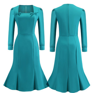 2018 Teal Long Sleeves Work Dresses Square Neck Solid Color with Bow Cotton Women Mermaid Vintage Pencil Dress FS6141