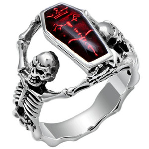 Vintage Punk Red Stone Skull Rings for Men Women 925 Silver Filled Skeleton Ring Female Male Fashion Party Accessories