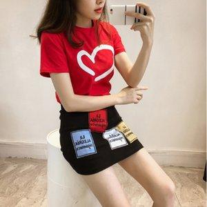 Two Piece Set Print Heart Red women Top And Skirt Set 2018 Summer T-shirt +Appliques A-Line Skirt Mini Beach Vacation Women Sets