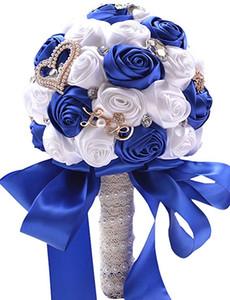 Clearbridal Flores artificiales Seda Rosa Ramo de novia de la boda WF036RB