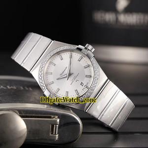 Barato Nuevo 38 mm esfera blanca Japón Miyota 8215 automático reloj para hombre Diamond Bzel banda de acero inoxidable caballeros relojes deportivos