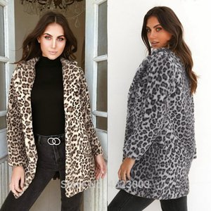 New Luxury Faux Fur Turn Down Collar Slim donna Cappotto lungo Ladies Leopard Open Stitch Top Coat