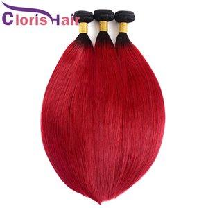 Raíces oscuras 1b Red Sily Sily Ombre Weave Weave Bundles Peruano Virgen Human Hair Extensions Barato Dos tonos Negro Rojo Ombre Tronco en venta