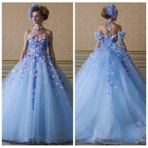 2018 Ice Blue Color Flowers Appliques Prom Gowns Detachable Straps Tulle A-Line Princess Custom Garden Quinceanera Dress Vestidos De Soiree