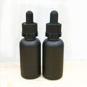 Nuovi flaconi vuoti in vetro nero opaco da 30ml con pipetta contagocce contagocce per oli essenziali per aromaterapia