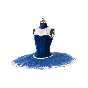 High End Fast Courier Kostenloser Versand Adult Classical Pailletten Ballett Tutu Professional Swan Lake blau Ballett Tutu Kostüm Tanzabnutzung