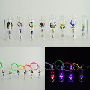 """5 """"inç LED Mini Dab Rig Cam Bong Su Boruları Yağ Kuyuları Inset Stereo Perc Pot Kase Hortum Dayanıklı Nargile Concerntrate Bubbler Recycler"""