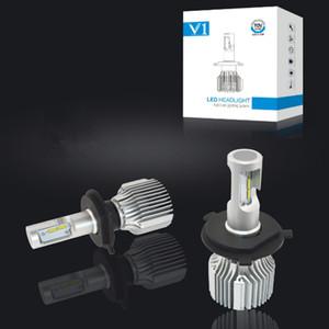 V1 자동차 LED 헤드 라이트 하이 빔 로우 빔 헤드 램프 슈퍼 브라이트 72W 헤드 라이트 H7 H11 H4 H13 9004