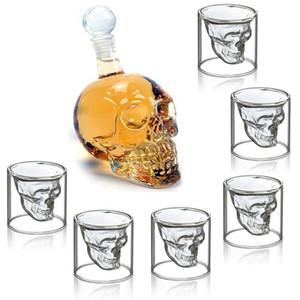 7pcs / set Cam Kupa 75ml Kristal Kafatası Head Shot Cam ile 550 mi Votka Şişesi Ev Bar Mug Bira Şarap Şampanya Cristal Cam Kupası