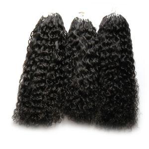 Nova Virgem Mongol Afro Kinky Cabelo Encaracolado 300 s Aplicar Natural Cabelo Micro Link Extensões de Cabelo Humano 300g Micro Bead Extensões