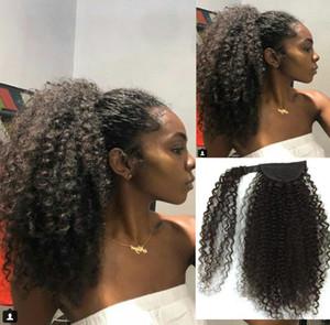 160g African american jet nero Afro Puff Crespi coda di cavallo Riccia estensione dei capelli umani naturale ricci updos coda di cavallo capelli pezzo