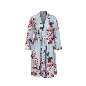 Women Maternity Sleepwear Kimono Bathrobe Long Sleeve Cotton Blend Soft Nightwear Women's Flower Pregnant Nightdress Nightgown