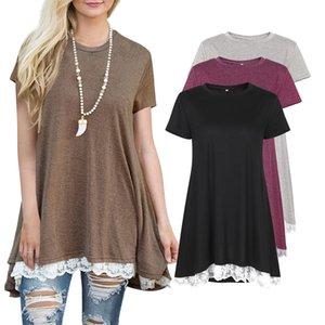여성 느슨한 t 셔츠 짧은 소매 여름 코튼 레이스 티셔츠 불규칙한 느슨한 옷자락 캐주얼 티셔츠 AM135을 패널로 레이스