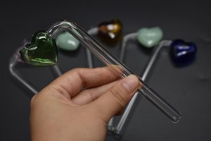 New Design cheap thick Love Heart Style Glass hand Pipes Multi-Colors Glass Smoking Hand Pipes Oil Burners Free Shipping
