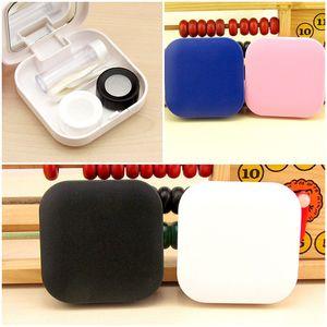 4 Farben Kunststoff Kontaktlinsen Fall mit Spiegel Kontaktlinsen Box Reise Brillen Fall ja Care Kit Halter Container