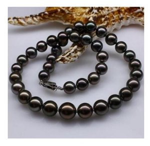 Elegant 10-11mm South Sea Black Natural Pearl Necklace 18 Inch 925 Silver Clasp