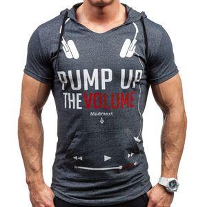 Sweatshirt d'été Sport Muscle Man Casual T-shirt à capuche À manches courtes Slim Tight Mens Lettre Imprimer Bottom Shirt